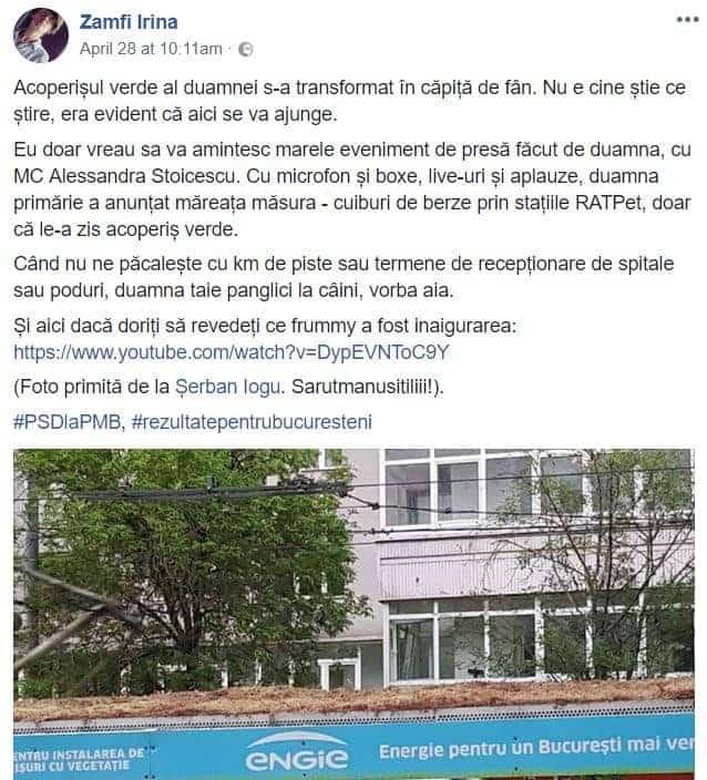 acoperis verde Bucuresti postare facebook Irina Zamfirescu