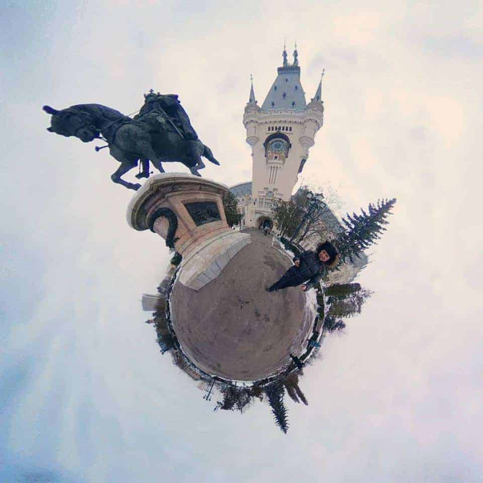imagine tiny planet Iasi Stefan cel Mare