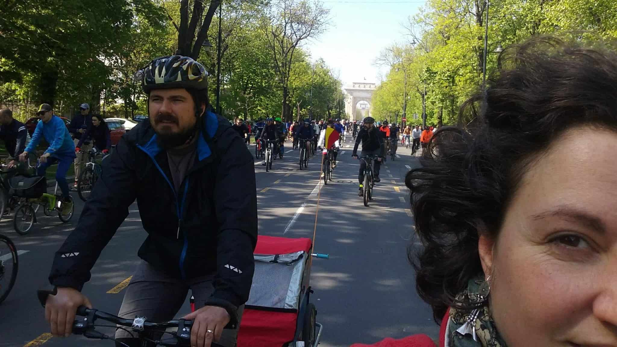 at one of the cyclists' marches for a better mobility infrastructure in Bucharest
